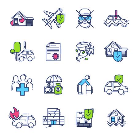 Insurance icon vector life or health ensurance logo and insurant family or house protection illustration set of insurer logotype isolated on white background Illustration