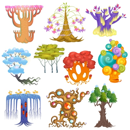 Magic tree vector fantasy forest with cartoon treetops and magical plants or fairy flowers illustration forestry set of colorful mystery oak isolated on white background