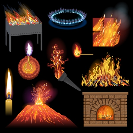 Fire flame vector fired flaming bonfire in fireplace and flammable campfire illustration fiery or flamy set of torchlight or lighting flambeau wildfire isolated on black background