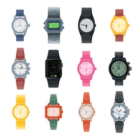 Beobachten Sie Vektorgeschäftsarmbanduhr oder Modearmbanduhr mit Uhrwerk und Zifferblatt, die in der Zeit mit Stunden- oder Minutenpfeilen-Illustrationssatz des Taktalarmzeitgebers lokalisiert auf weißem Hintergrund getaktet sind