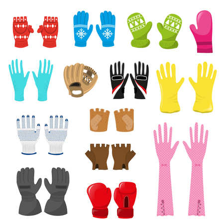 Glove vector woolen xmas mittens and protective pair of gloves illustration set of boxxing-gloves or knitted mitts for hand fingers isolated on white background