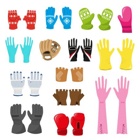 Handschoen vector wollen xmas wanten en beschermende paar handschoenen illustratie set boxxing-handschoenen of gebreide wanten voor hand vingers geïsoleerd op witte achtergrond