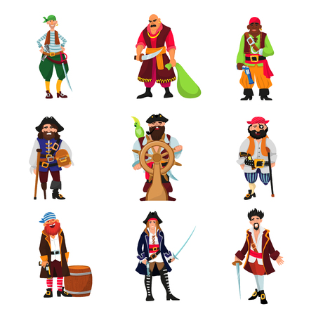 Pirate vector piratic character buccaneer man in pirating costume in hat with sword illustration set of piracy sailor person isolated on white background