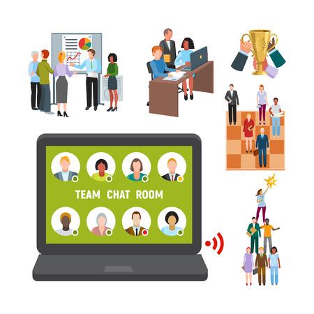 Team work people management business concept symbols flat colorful design characters vector illustration elements Vektorové ilustrace