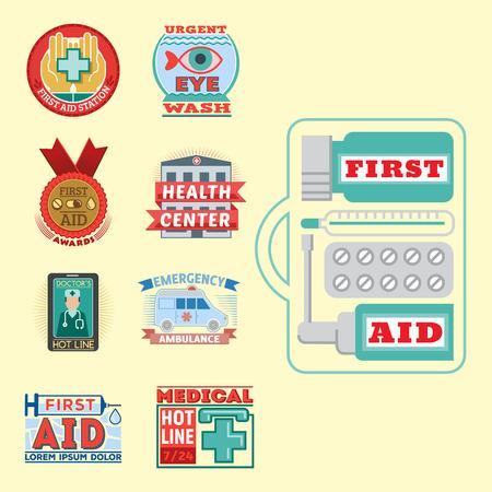 Vector illustration of medical emblem vintage tag for first aid healthcare and pharmacy medicine. Illustration