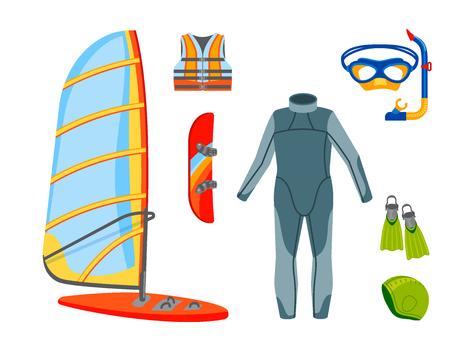 Fun water extreme sport kiteboarding surfer sailing leisure sea activity summer recreation extreme vector illustration.