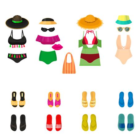 Beachwear bikini cloth fashion looks vacation lifestyle women collection sea light beauty clothes vector illustraton 写真素材