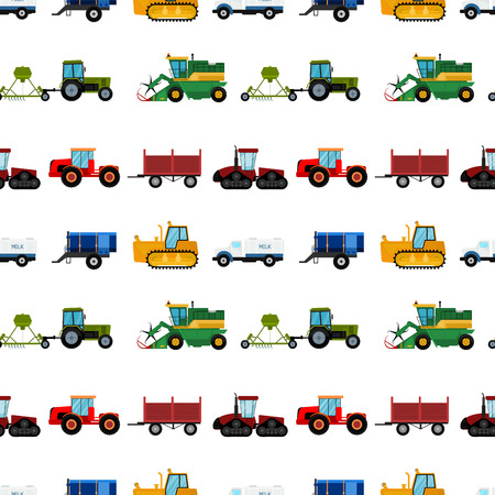 Agriculture industrial farm equipment seamless pattern background machinery tractors combines and excavators vector illustration. Imagens - 103324641