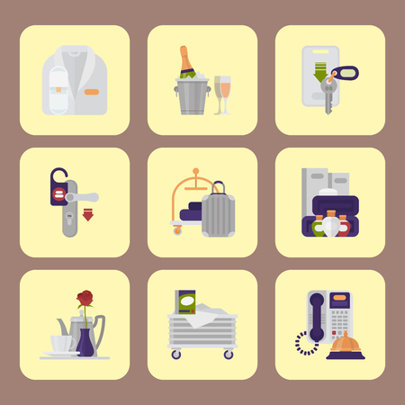 Hotel workers vector personal professional service man and woman job objects hostel manager illustration. Illustration