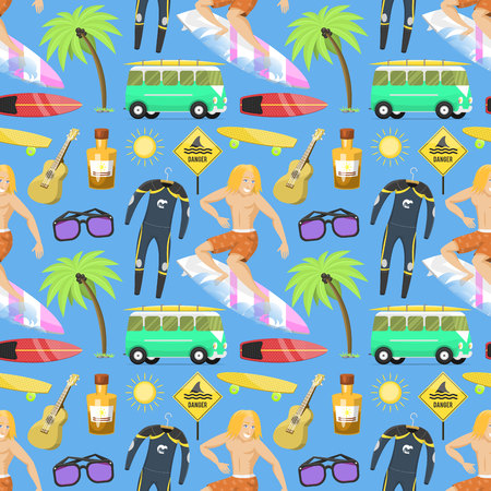 Surfing active water sport seamless pattern background surfer summer time beach activities man windsurfing jet water wakeboarding kitesurfing vector illustration.