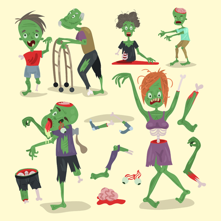Colorful zombie scary cartoon elements halloween magic people body fun group cute green character part monsters vector illustration. Illustration