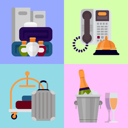 Hotel personal professional service objects executive help hostel tools vector illustration.