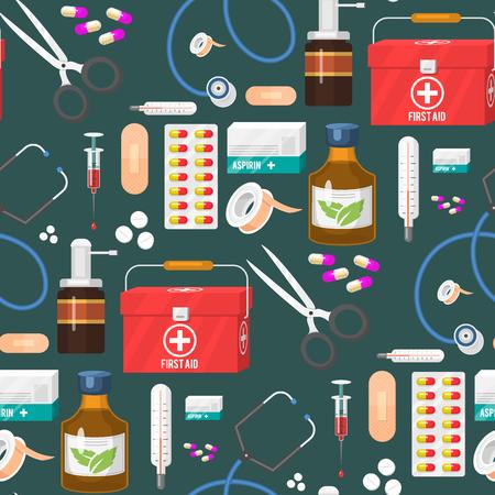 Medical instruments doctor tools medicament seamless pattern background cartoon style medication hospital health treatment vector illustration.