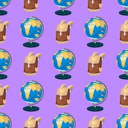 Globe earth geography educational backpack seamless pattern background planet travel map education symbol vector illustration.