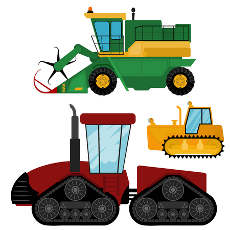 Agriculture industrial farm equipment machinery tractors combines and excavators vector illustration. Stock Illustratie