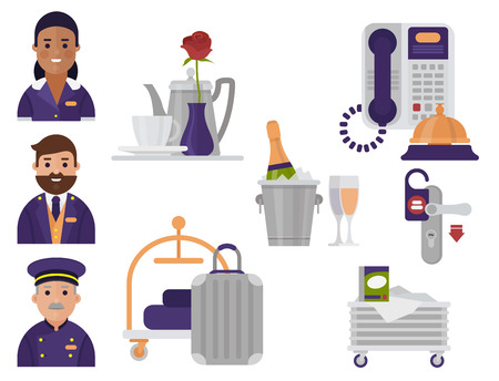 Hotel workers personal professional service man and woman job uniform objects hostel manager vector illustration.