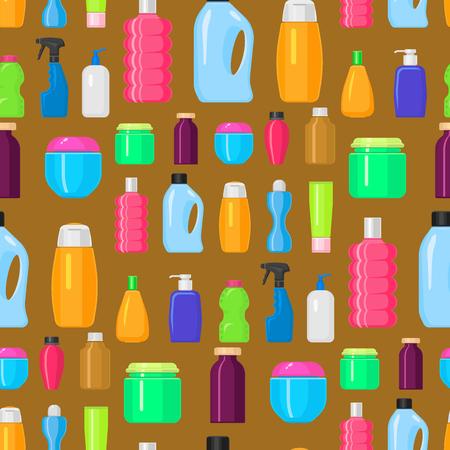 Bottles vector household chemicals supplies cleaning housework plastic detergent liquid domestic fluid bottle cleaner pack seamless pattern background illustration. Illustration