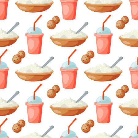 Milk dairy products vector flat style breakfast gourmet organic meal fresh diet food milky drink ingredient nutrition seamless pattern background illustration. Иллюстрация