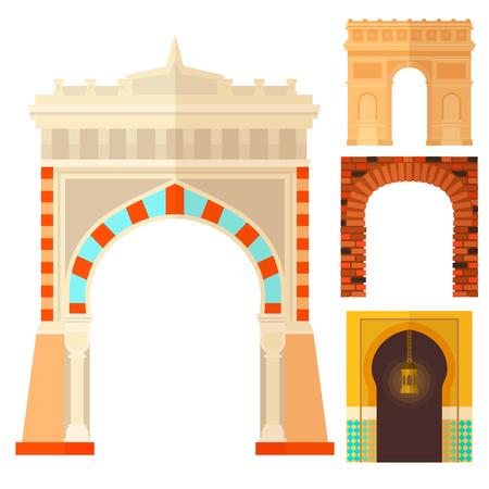 Arch design architecture construction frame classic, column structure gate door facade and gateway building ancient construction vector illustration. Illusztráció