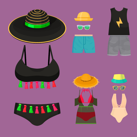 Beachwear bikini cloth fashion looks vacation lifestyle women collection sea light beauty clothes vector illustraton Illustration