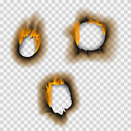 Pieza quemada quemada orificio de papel desteñido realista llama de fuego hoja de página aislada ceniza rasgada ilustración vectorial Ilustración de vector