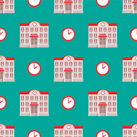 City public school buildings houses seamless pattern background flat design office architecture modern street apartment vector illustration.
