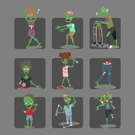 Colorful zombie scary cartoon cards halloween magic people body fun group cute green character part monsters vector illustration.