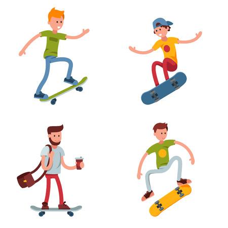 Young skateboarder active people sport extreme active skateboarding urban jumping tricks vector illustration. Illustration
