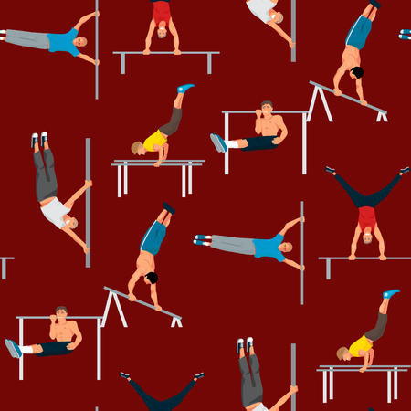Horizontal bar chin-up strong athlete man gym exercise street workout tricks muscular fitness sport pulling up character seamless pattern background vector illustration. Stock Illustratie