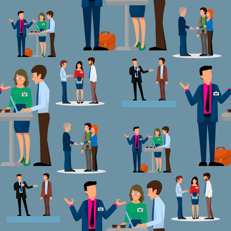 Business people vector groups presentation to investors conferense teamwork meeting characters interview illustration seamless pattern background.