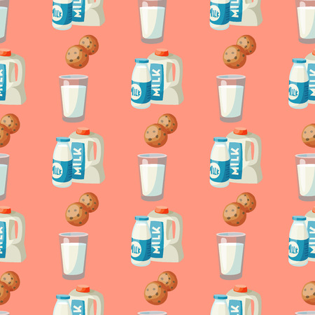 Milk dairy products vector flat style breakfast gourmet organic meal fresh diet food milky drink ingredient nutrition seamless pattern background illustration. Illustration