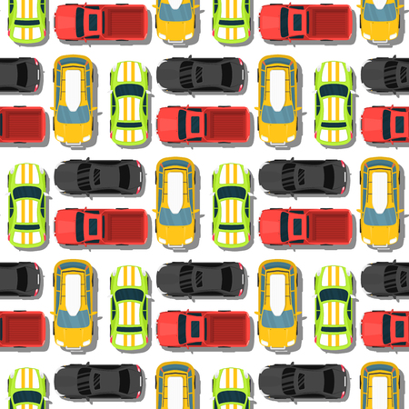 Top view colorful car toys seamless pattern background pickup automobile transport wheel transportation design vector illustration. Illustration