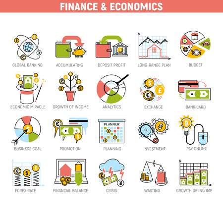 Banking money financial services set credit sign development finance accumulation bank investment management vector illustration.