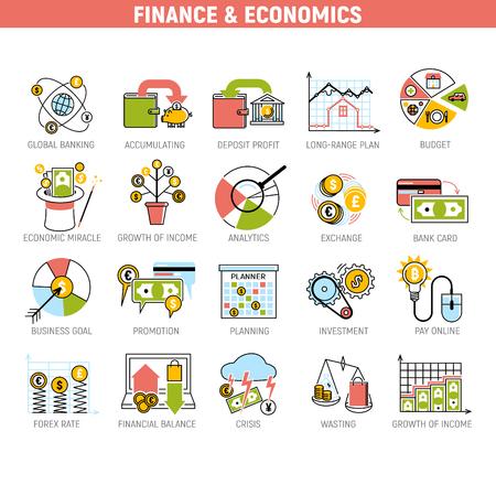 Banque argent services financiers mis crédit signe développement finance accumulation banque investissement gestion illustration vectorielle.