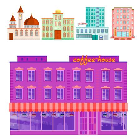 City public buildings houses flat design office architecture modern street apartment vector illustration. Illustration