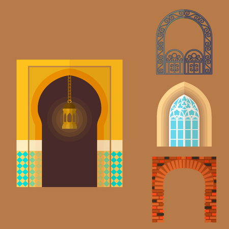 Arch design architecture construction frame classic, column structure gate door facade and gateway building ancient construction vector illustration. Ilustracja