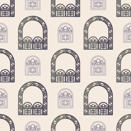 Arch design architecture construction frame seamless pattern background column gate door facade building construction vector illustration.