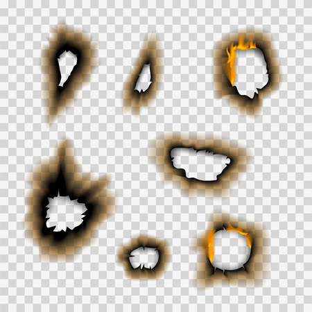 Burnt piece burned faded paper hole realistic fire flame isolated page sheet torn ash vector illustration Stok Fotoğraf - 103324896