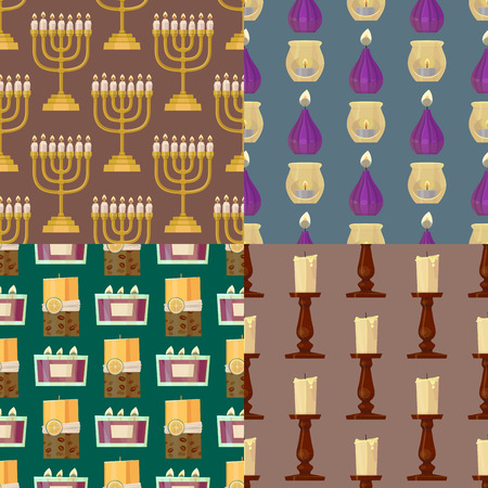Celebration glowing religion candles seamless pattern background romance night bright flam burning object vector illustration. Ilustração