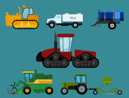 Agriculture industrial farm equipment machinery tractors combines and excavators vector illustration. 일러스트