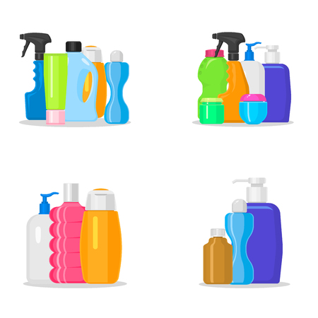 Bottles vector household chemicals supplies and cleaning housework plastic detergent liquid domestic fluid bottle cleaner pack illustration.