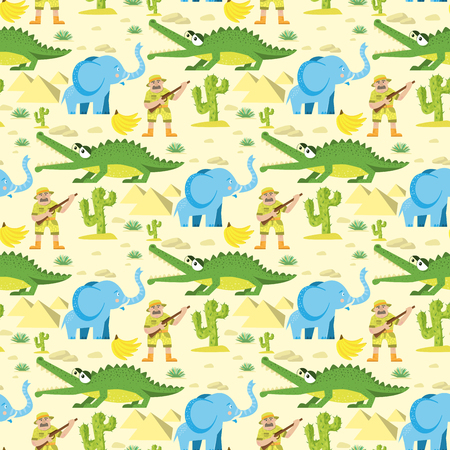 Seamless animal pattern wildlife reptile background with circus elephant crocodile characters vector illustration Vectores