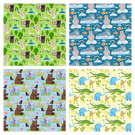 Seamless animal pattern wildlife reptile background crocodile bear elephant characters vector illustration