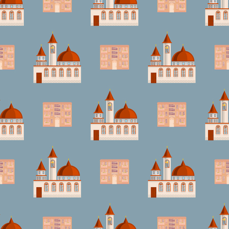 City public buildings houses seamless pattern background flat design office architecture modern street apartment vector illustration. Illustration