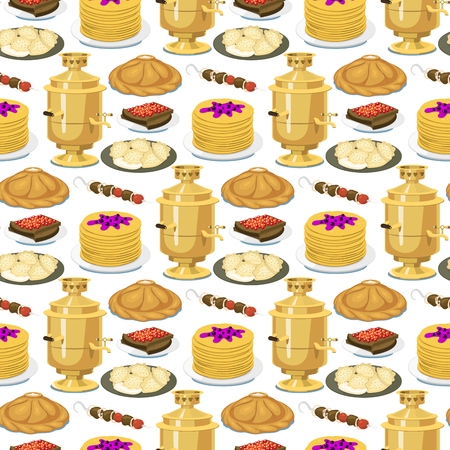 Traditional Russian cuisine seamless pattern background culture dish course food welcome to Russia gourmet national meal vector illustration