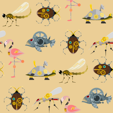 Stylized metal steampunk mechanic robots animals machine steam gear insect punk art machinery seamless pattern background vector illustration. Çizim