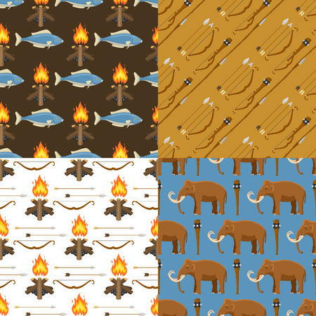 Stone age vector aboriginal primeval historic hunting primitive people weapon seamless pattern background illustration. Ilustração