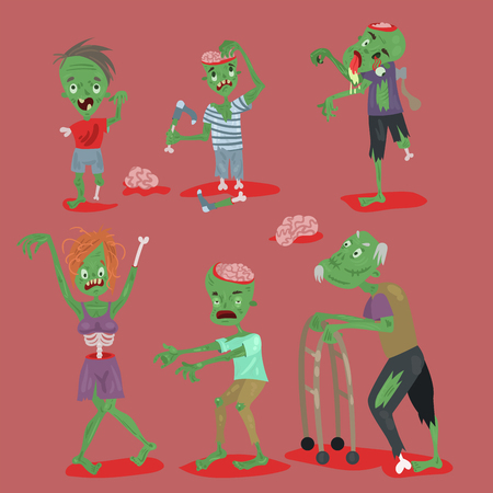 Colorful zombie scary cartoon elements halloween magic people body fun group cute green character part monsters vector illustration. Stock Illustratie