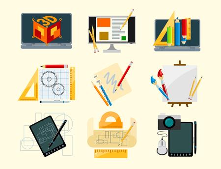 Creativity icons imagination vector illustration abstract colorful flat creative process design development elements.