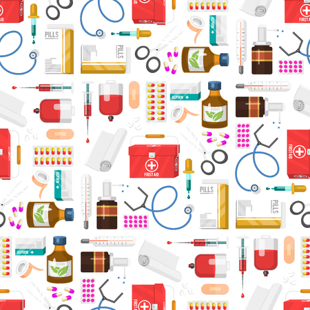 Medical instruments doctor tools medicament seamless pattern background cartoon style medication hospital health treatment vector illustration.